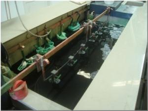 galvanizálási technológia kiemelt eleme a galvanizáló kád az elektrolit folyadékkal